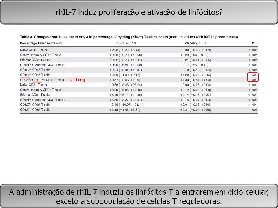 rhIL-7 induz proliferação e ativação de linfócitos