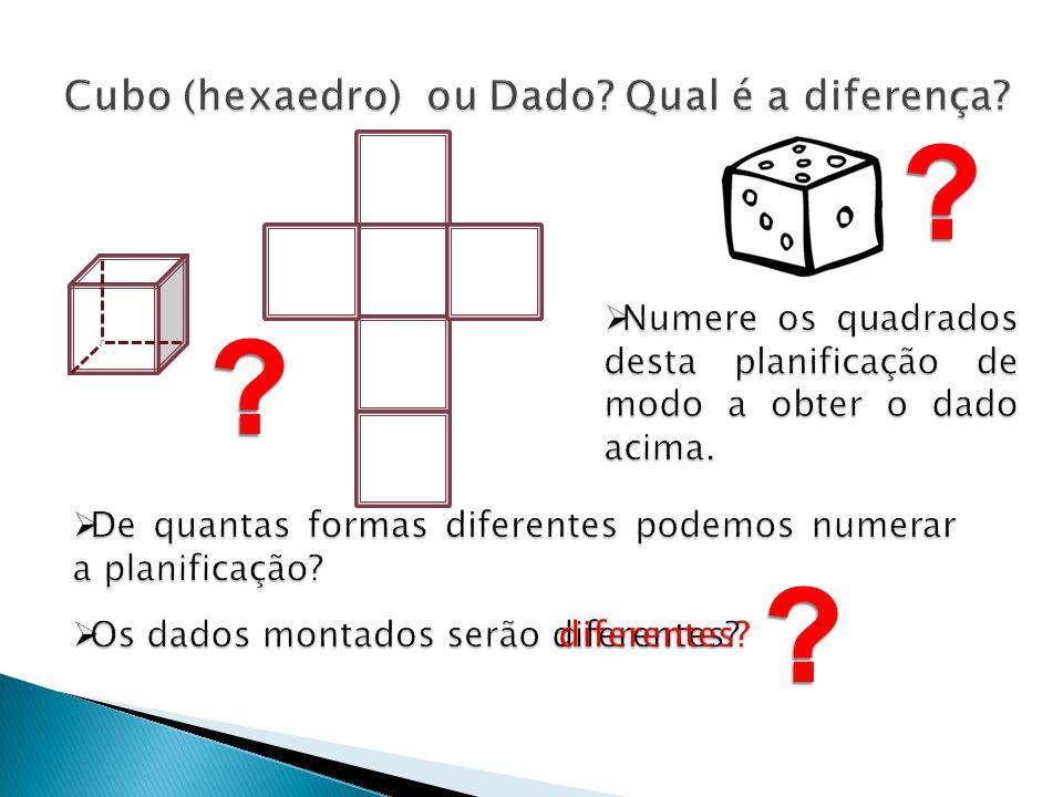 Cubo (hexaedro) ou Dado Qual é a diferença