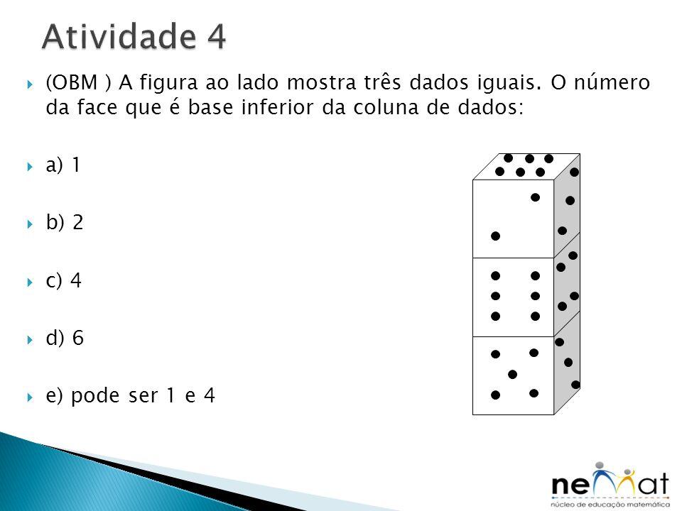 Atividade 4 (OBM ) A figura ao lado mostra três dados iguais. O número da face que é base inferior da coluna de dados: