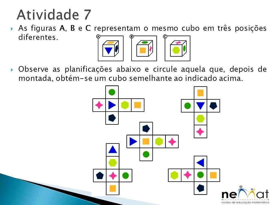 Atividade 7 As figuras A, B e C representam o mesmo cubo em três posições diferentes.