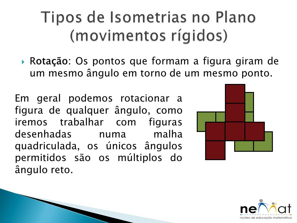 Tipos de Isometrias no Plano (movimentos rígidos)