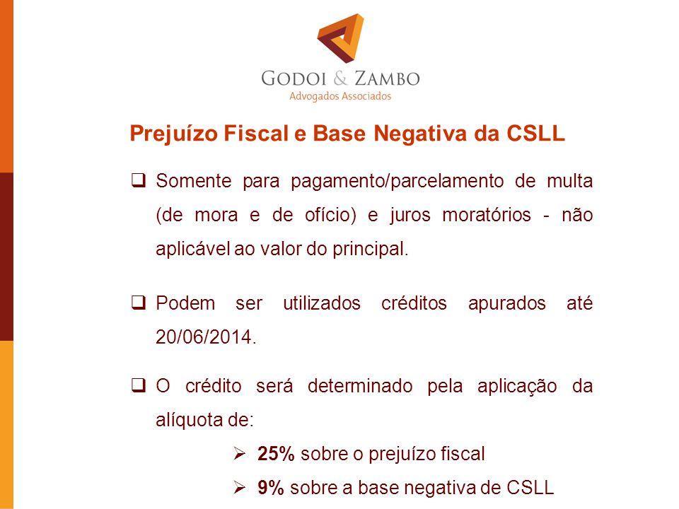 Prejuízo Fiscal e Base Negativa da CSLL