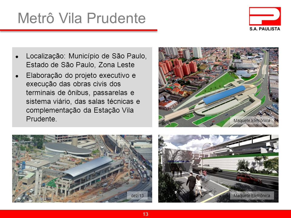 Metrô Vila Prudente Localização: Município de São Paulo, Estado de São Paulo, Zona Leste.