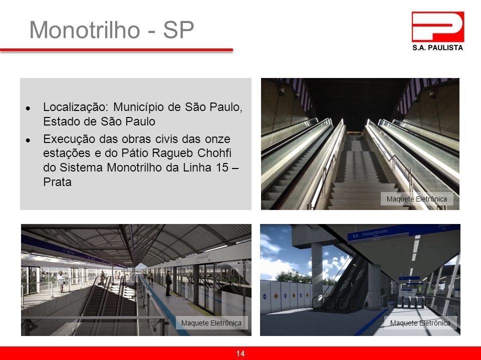 Monotrilho - SP Localização: Município de São Paulo, Estado de São Paulo.