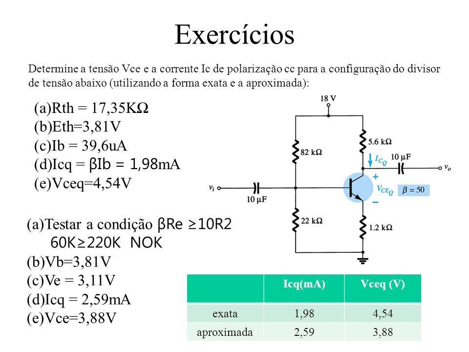 Exercícios Rth = 17,35KΩ Eth=3,81V Ib = 39,6uA Icq = βIb = 1,98mA