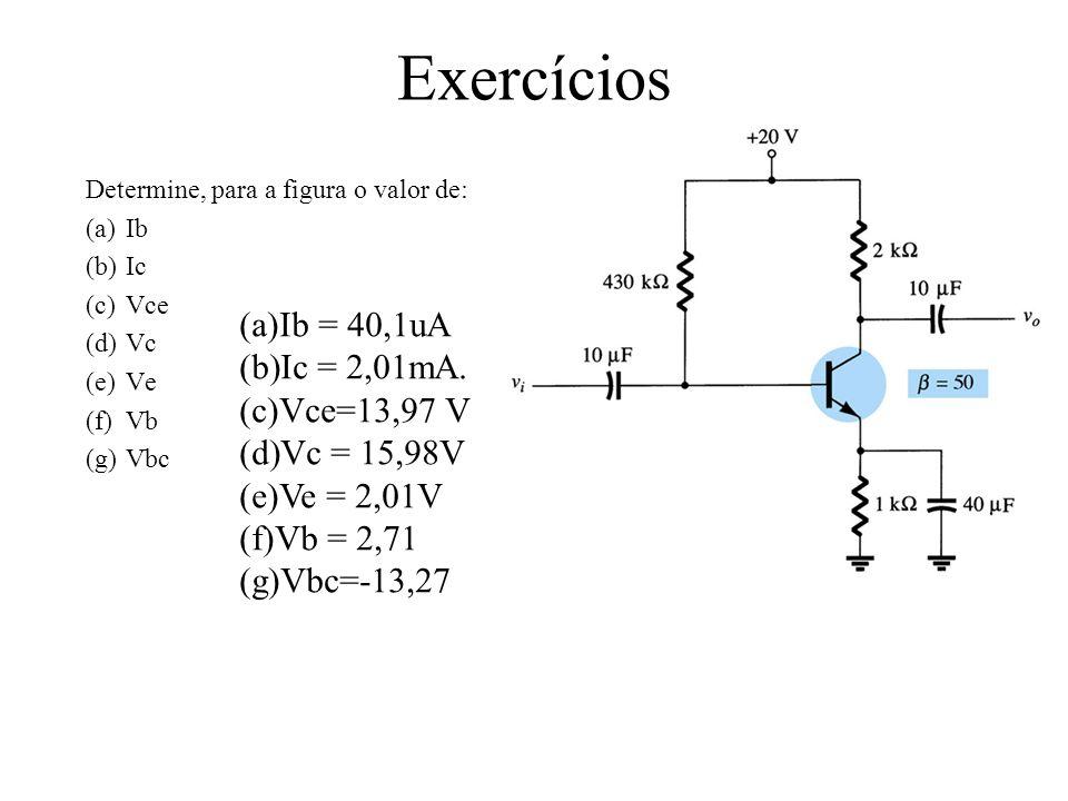 Exercícios Ib = 40,1uA Ic = 2,01mA. Vce=13,97 V Vc = 15,98V Ve = 2,01V
