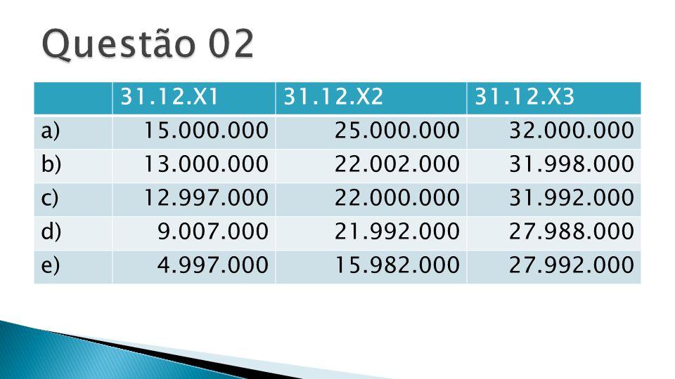 Questão 02 31.12.X1. 31.12.X2. 31.12.X3. a) 15.000.000. 25.000.000. 32.000.000. b) 13.000.000.