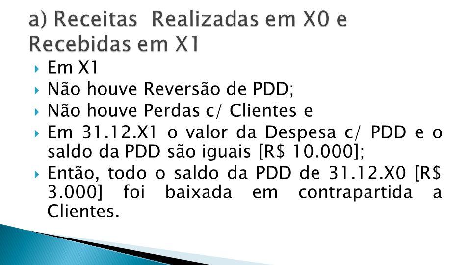 a) Receitas Realizadas em X0 e Recebidas em X1