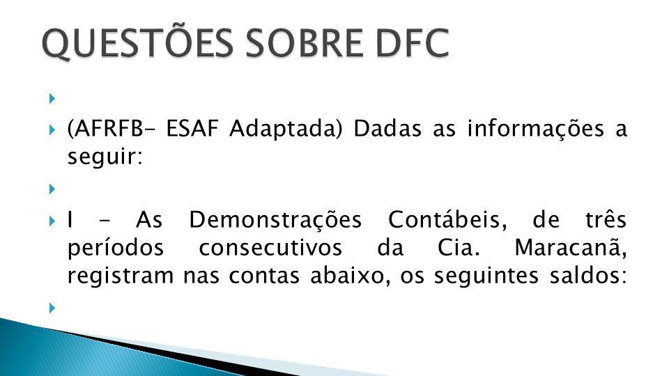 QUESTÕES SOBRE DFC (AFRFB- ESAF Adaptada) Dadas as informações a seguir: