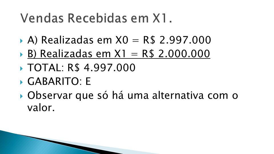 Vendas Recebidas em X1. A) Realizadas em X0 = R$ 2.997.000
