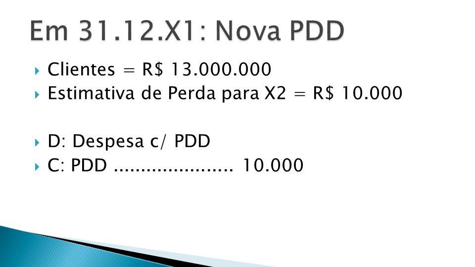 Em 31.12.X1: Nova PDD Clientes = R$ 13.000.000