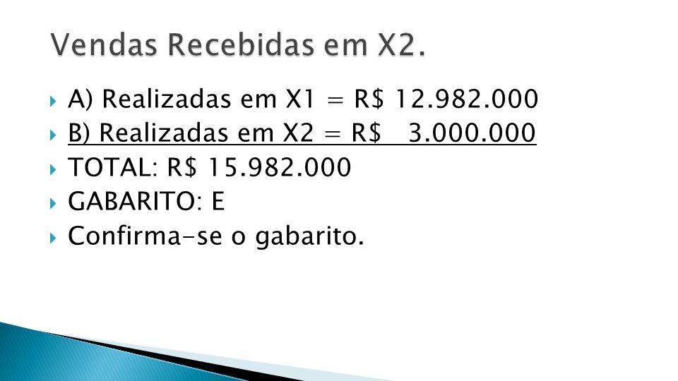 Vendas Recebidas em X2. A) Realizadas em X1 = R$ 12.982.000