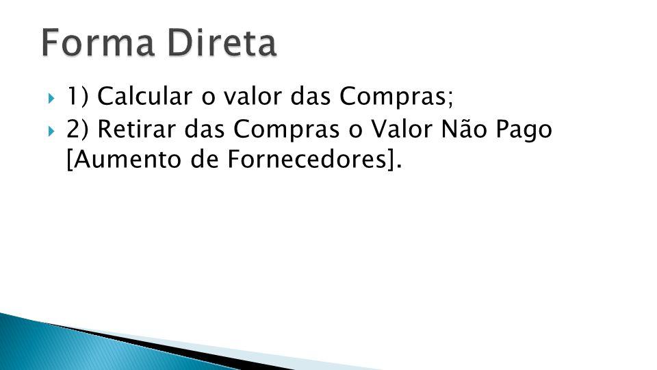 Forma Direta 1) Calcular o valor das Compras;