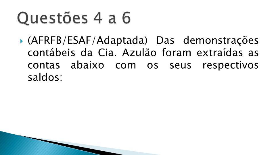 Questões 4 a 6 (AFRFB/ESAF/Adaptada) Das demonstrações contábeis da Cia.