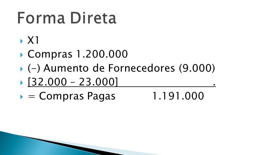 Forma Direta X1 Compras 1.200.000 (-) Aumento de Fornecedores (9.000)