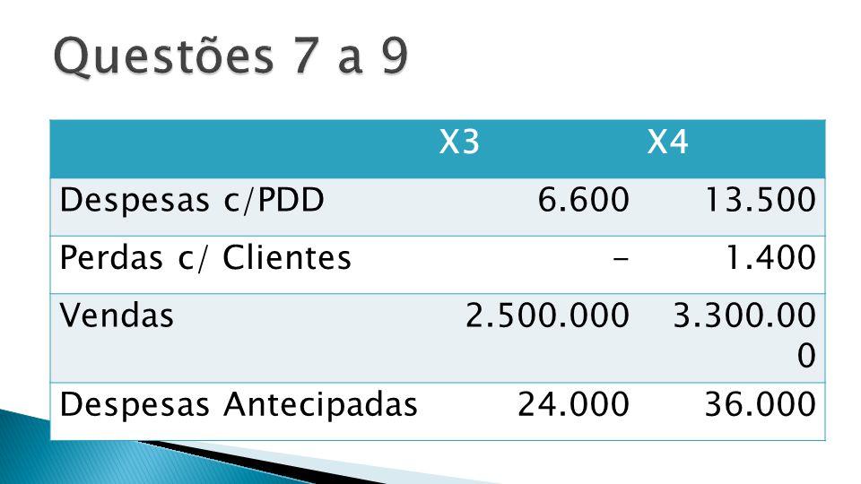 Questões 7 a 9 X3 X4 Despesas c/PDD 6.600 13.500 Perdas c/ Clientes -