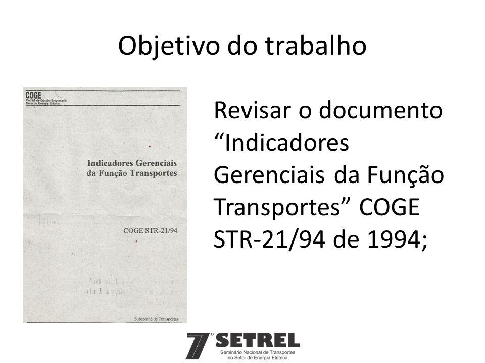 Objetivo do trabalho Revisar o documento Indicadores Gerenciais da Função Transportes COGE STR-21/94 de 1994;