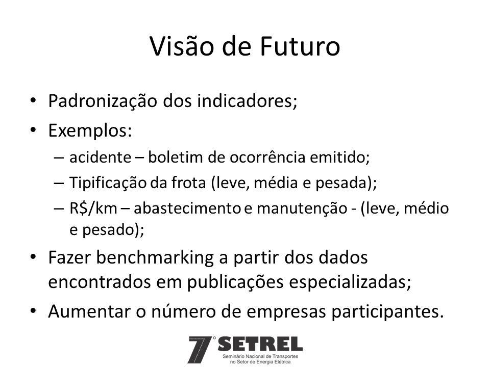Visão de Futuro Padronização dos indicadores; Exemplos: