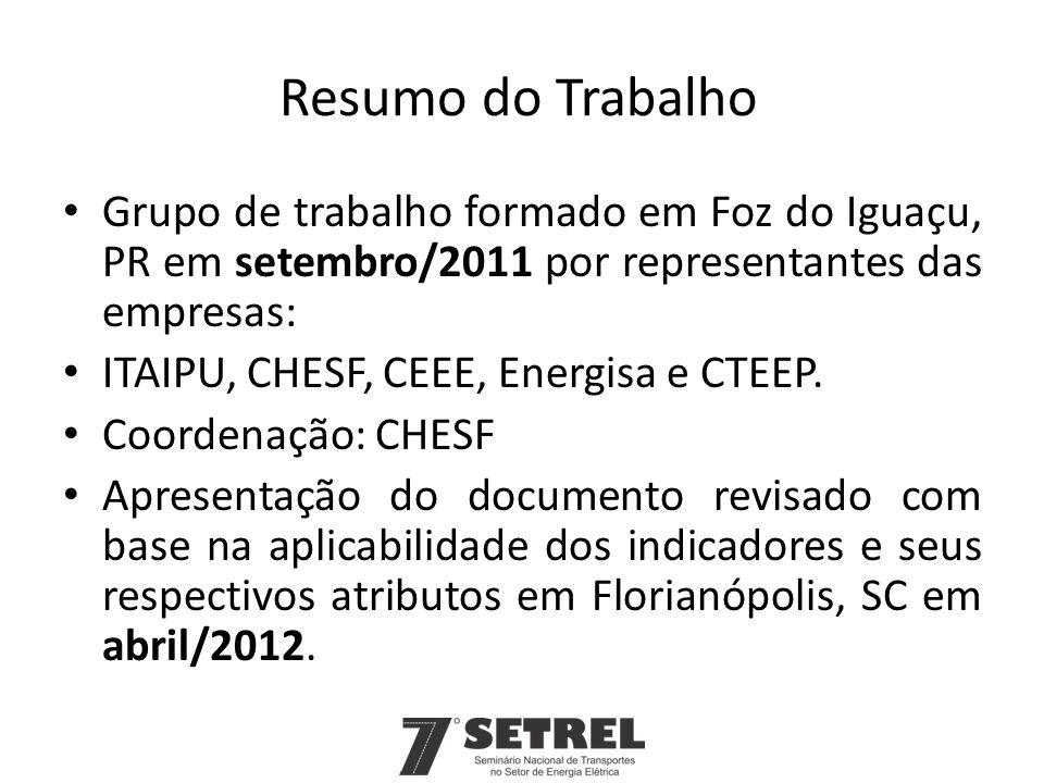 Resumo do Trabalho Grupo de trabalho formado em Foz do Iguaçu, PR em setembro/2011 por representantes das empresas: