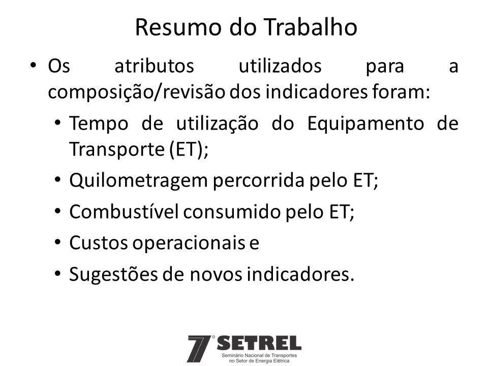 Resumo do Trabalho Os atributos utilizados para a composição/revisão dos indicadores foram: Tempo de utilização do Equipamento de Transporte (ET);