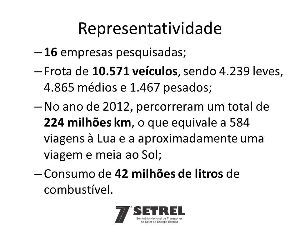 Representatividade 16 empresas pesquisadas;