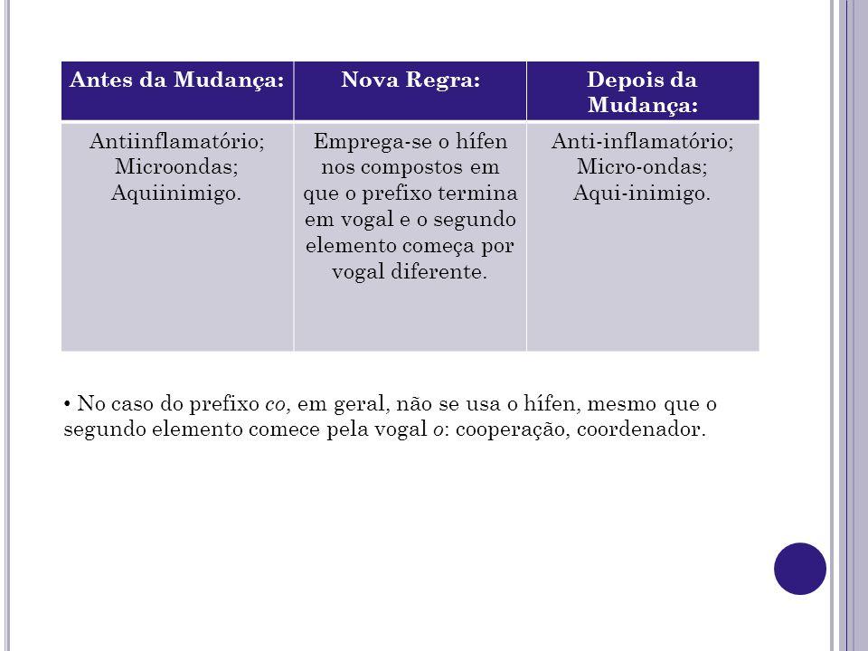 Antes da Mudança: Nova Regra: Depois da Mudança: Antiinflamatório; Microondas; Aquiinimigo.