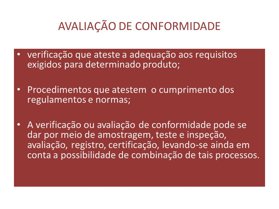 AVALIAÇÃO DE CONFORMIDADE