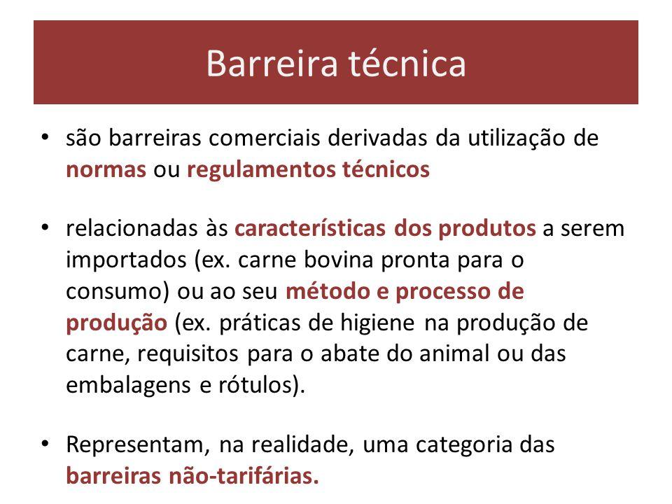 Barreira técnica são barreiras comerciais derivadas da utilização de normas ou regulamentos técnicos.