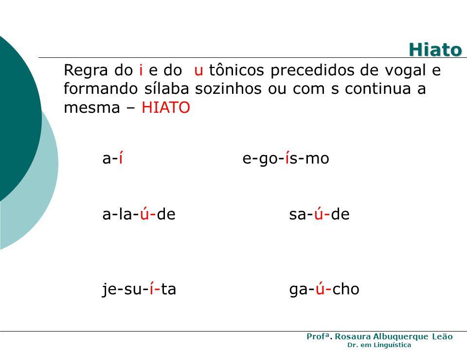 Hiato Regra do i e do u tônicos precedidos de vogal e formando sílaba sozinhos ou com s continua a mesma – HIATO.