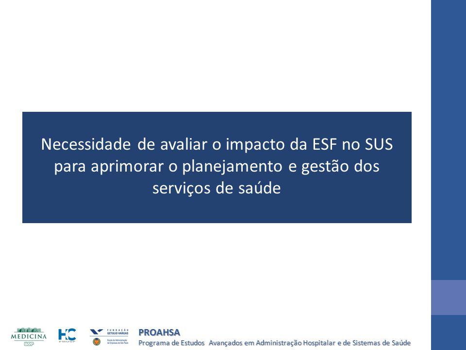 Necessidade de avaliar o impacto da ESF no SUS para aprimorar o planejamento e gestão dos serviços de saúde