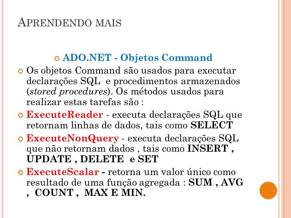ADO.NET - Objetos Command