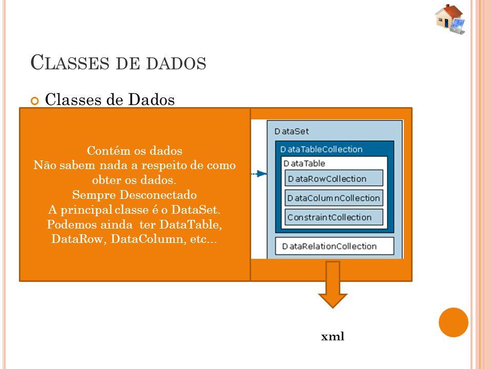 Classes de dados Classes de Dados Contém os dados