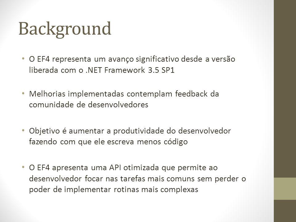 Background O EF4 representa um avanço significativo desde a versão liberada com o .NET Framework 3.5 SP1.
