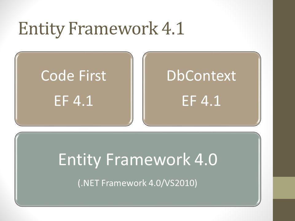 Entity Framework 4.1 Entity Framework 4.0 Code First EF 4.1 DbContext