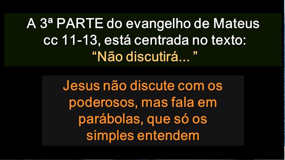 Jesus não discute com os poderosos, mas fala em parábolas, que só os