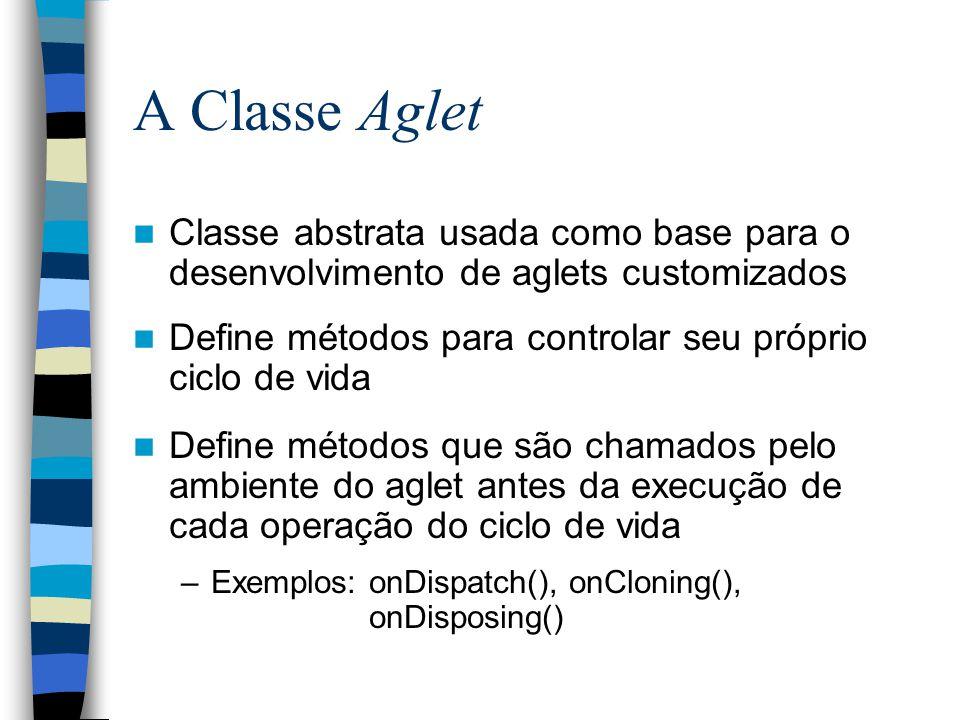 A Classe Aglet Classe abstrata usada como base para o desenvolvimento de aglets customizados.