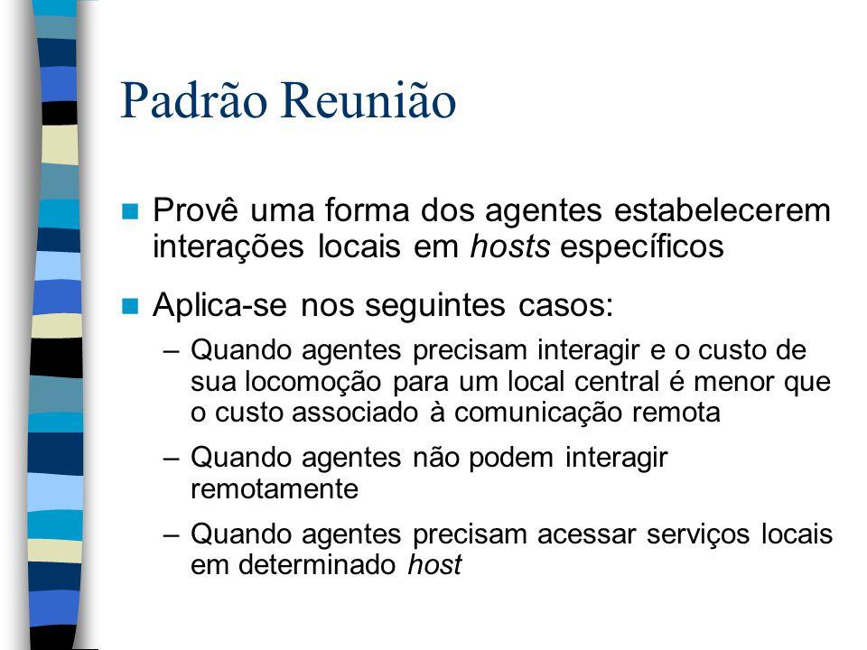 Padrão Reunião Provê uma forma dos agentes estabelecerem interações locais em hosts específicos. Aplica-se nos seguintes casos: