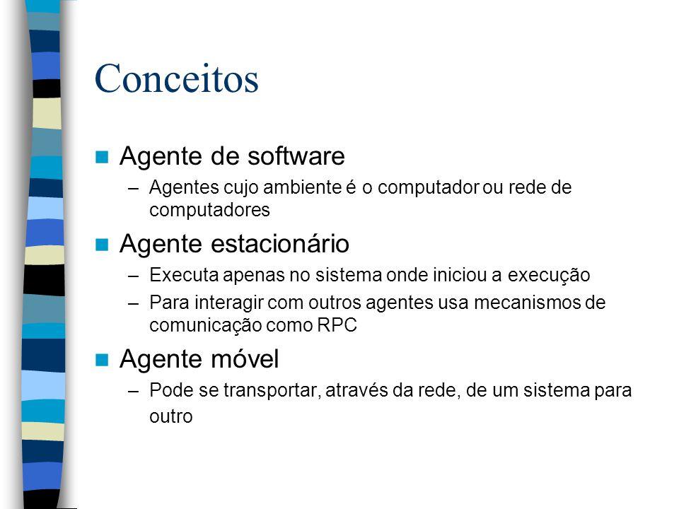 Conceitos Agente de software Agente estacionário Agente móvel