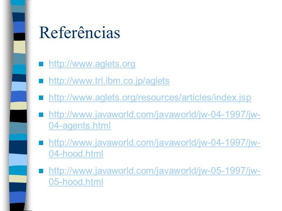 Referências http://www.aglets.org http://www.trl.ibm.co.jp/aglets