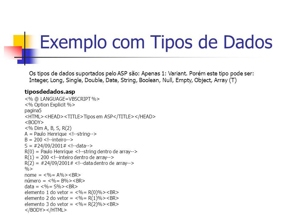 Exemplo com Tipos de Dados