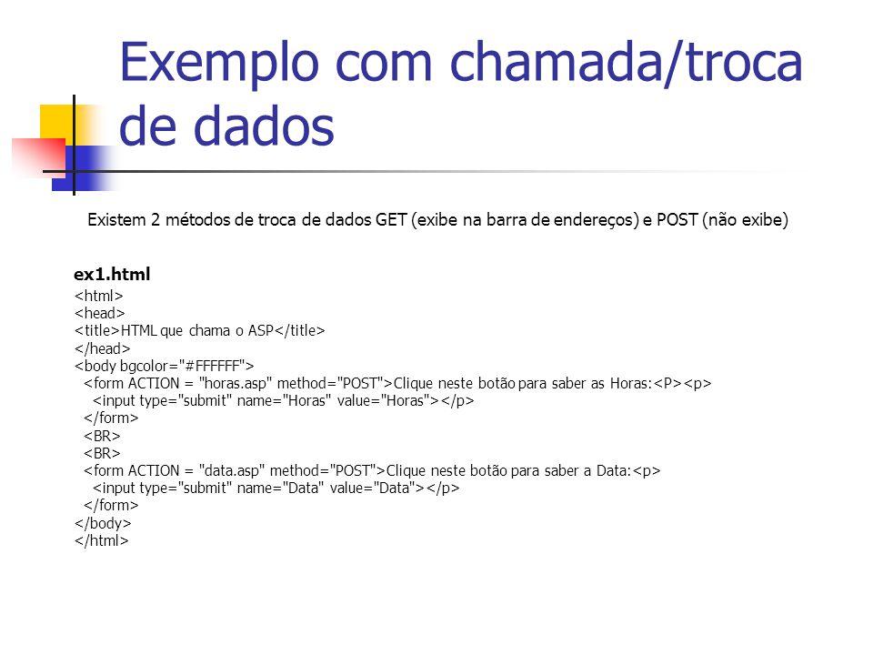 Exemplo com chamada/troca de dados