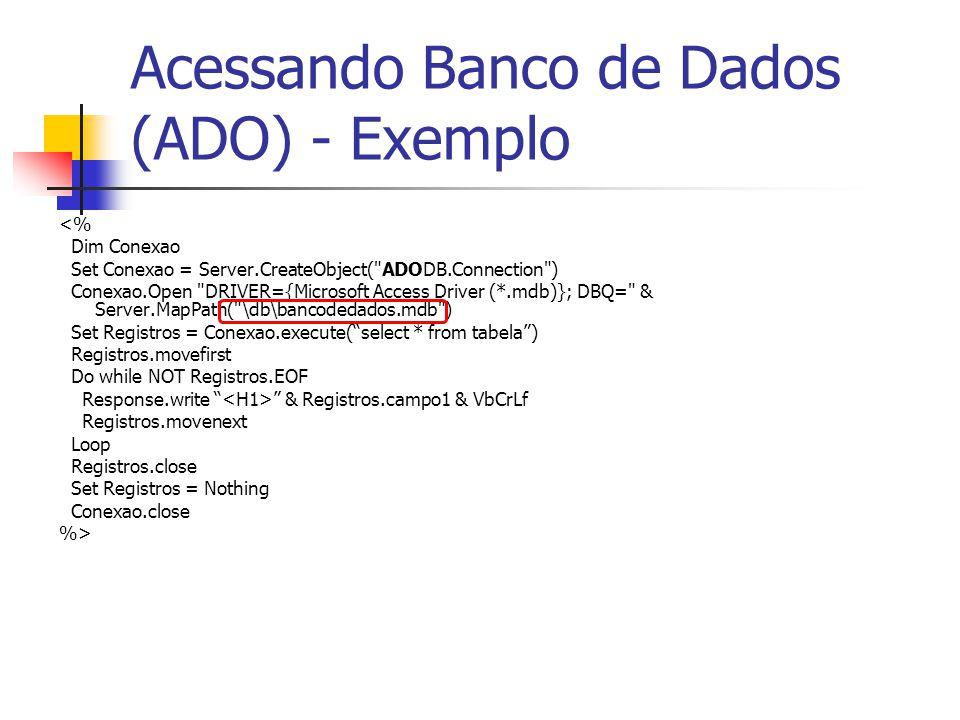 Acessando Banco de Dados (ADO) - Exemplo