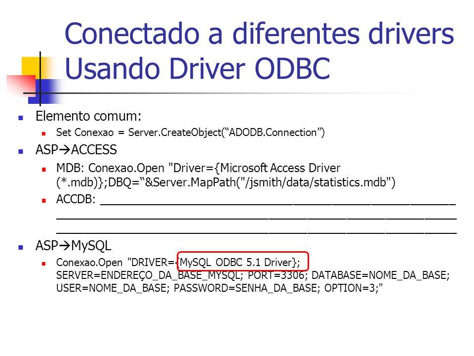 Conectado a diferentes drivers Usando Driver ODBC