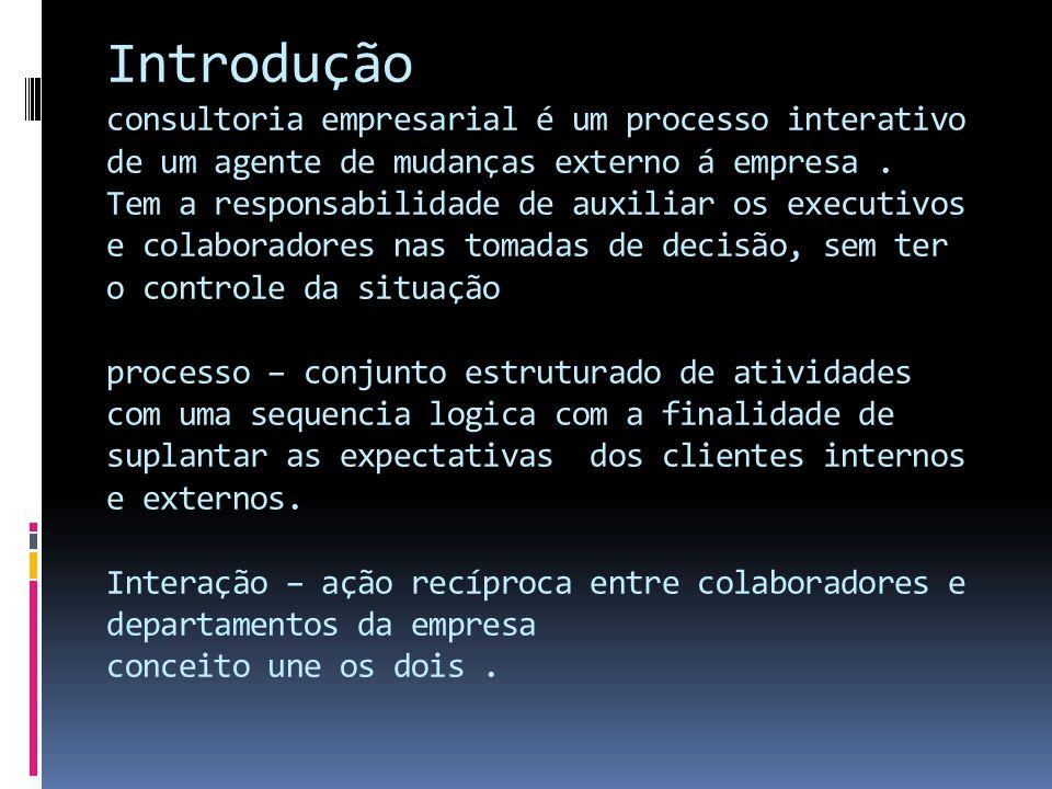Introdução consultoria empresarial é um processo interativo de um agente de mudanças externo á empresa .