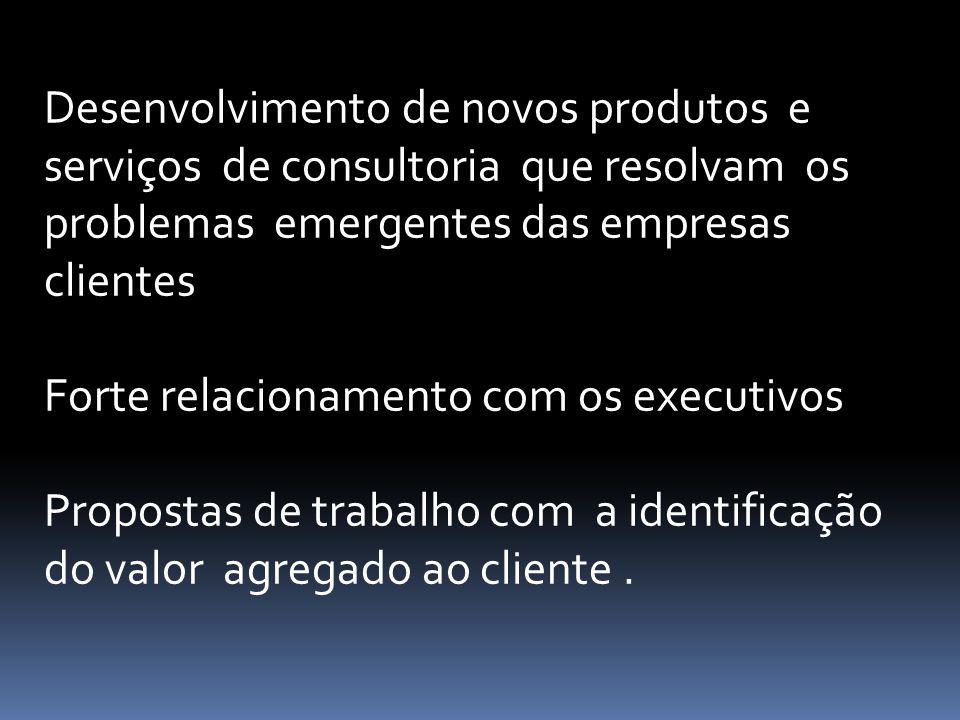 Desenvolvimento de novos produtos e serviços de consultoria que resolvam os problemas emergentes das empresas clientes