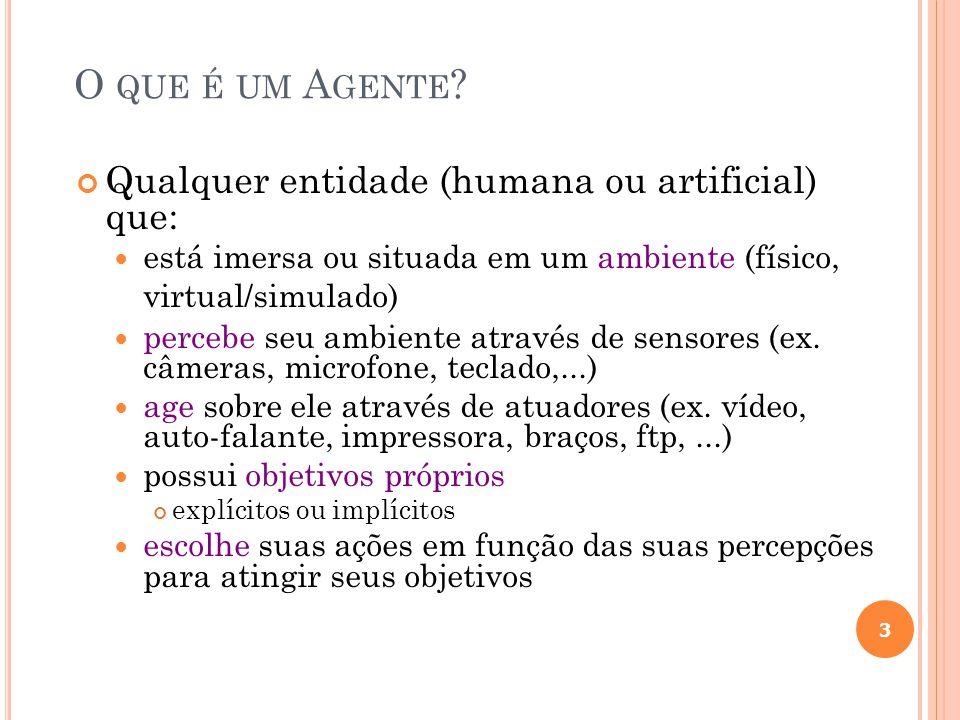 O que é um Agente Qualquer entidade (humana ou artificial) que: