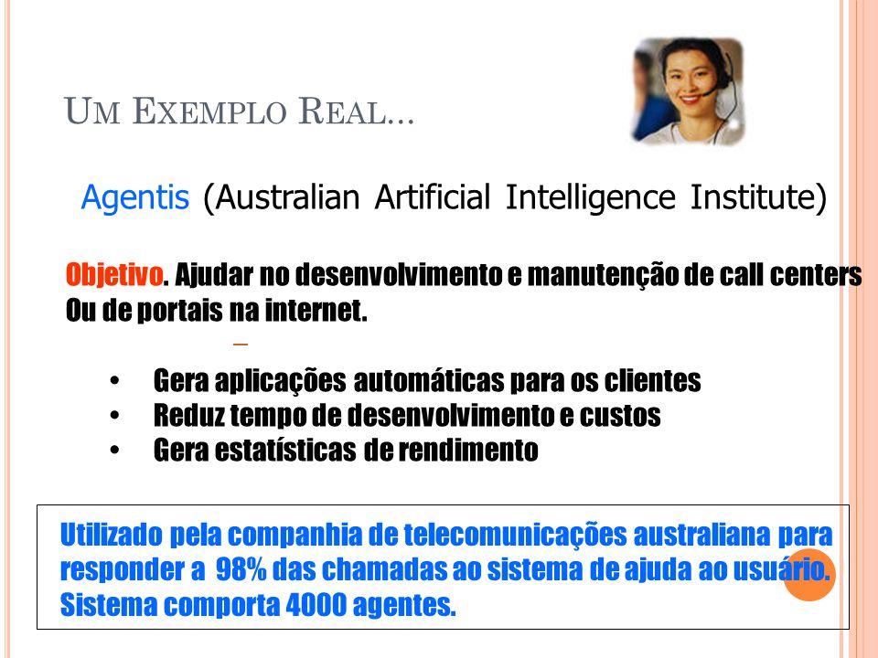 Um Exemplo Real... Agentis (Australian Artificial Intelligence Institute) Objetivo. Ajudar no desenvolvimento e manutenção de call centers.