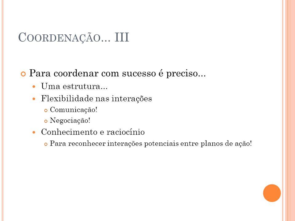 Coordenação... III Para coordenar com sucesso é preciso...