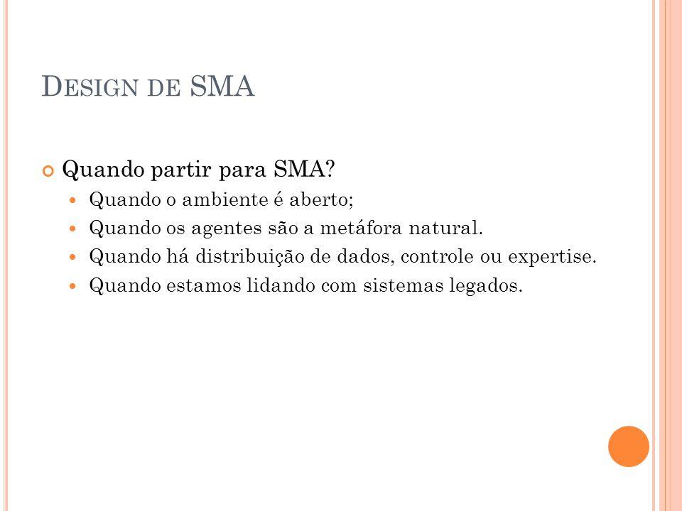 Design de SMA Quando partir para SMA Quando o ambiente é aberto;