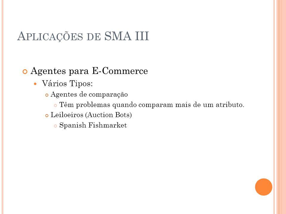 Aplicações de SMA III Agentes para E-Commerce Vários Tipos: